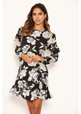 AX Paris Women's Floral Print Long Puff Sleeve Dress