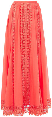Charo Ruiz Ibiza Gathered Guipure Lace-paneled Cotton-blend Mousseline Maxi Skirt