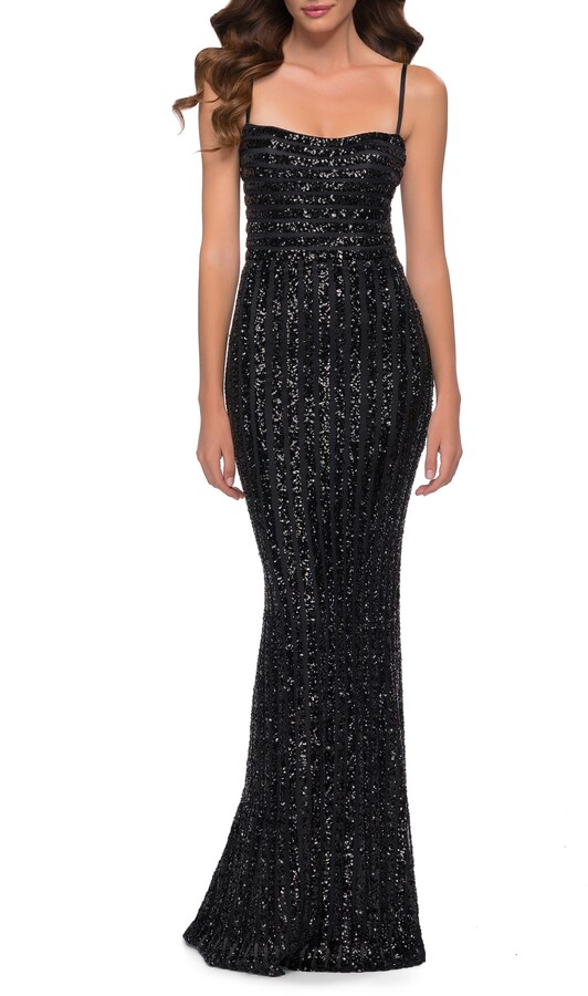 La Femme Stripe Pattern Sequin Evening Gown