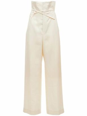 Jacquemus Le Pantalon Novio Linen Wide Leg Pants