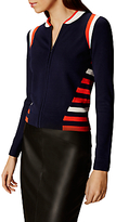 Karen Millen Sporty Stripe Zip Front Knitted Bomber Jacket, Blue/Multi