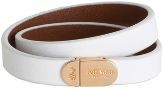 Jeff Wan Leather Bracelet With Magnetic Closure White Manhattan