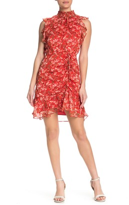 Sam Edelman Metallic Ruffle Cap Sleeve Floral Print Mini Dress