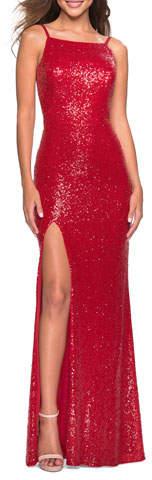 La Femme Sequin High-Neck Open-Back Sleeveless Gown
