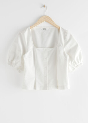 And other stories Square Neck Puff Sleeve Twill Top