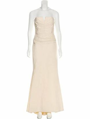 Carmen Marc Valvo Strapless Evening Gown
