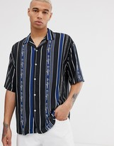 Due Diligence revere collar shirt in logo stripe