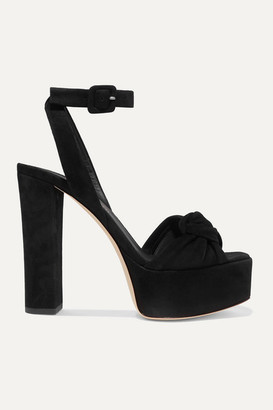 Giuseppe Zanotti Knotted Suede Platform Sandals - Black