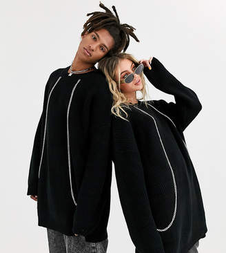 Collusion COLLUSION Unisex oversized fisherman knit sweater with chain detail-Black