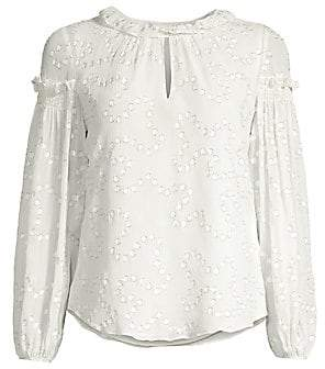 Rebecca Taylor Women's Metallic-Trim Polka Dot Silk-Crepe Ruffle Puff-Sleeve Blouse - Size 0
