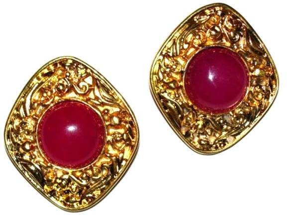 Chanel Marquise Pink Cabochon Gripoix Earrings