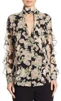 Nicholas Luna Floral Print Ruffled Silk Blouse