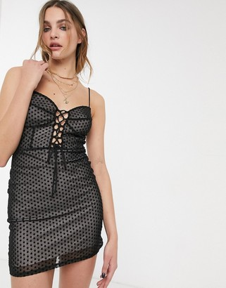 Topshop star print corset mini dress in black