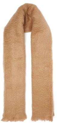 Jil Sander Logo Label Mohair Blend Blanket Scarf - Womens - Camel
