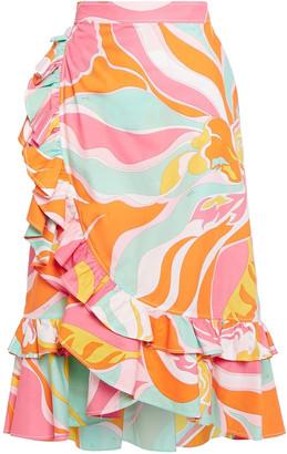Emilio Pucci Ruffled Printed Cotton Wrap Skirt