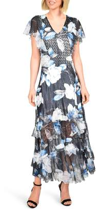 Komarov Tiered Hem Charmeuse Maxi Dress
