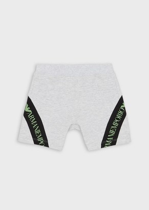 Emporio Armani Stretch Jersey Fleece Shorts With Logo Detail