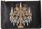 Dolce & Gabbana Candleabra Embellished Zip Clutch Clutch Handbags