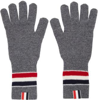 Thom Browne Grey Merino Rib RWB Stripe Gloves