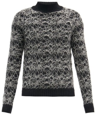 Saint Laurent Spider-web Embroidered Mohair-blend Sweater - Black Grey