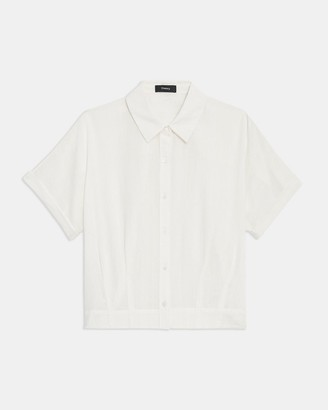 Theory Cropped Button Up Shirt in Cotton-Viscose
