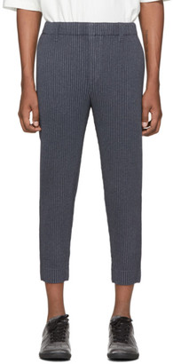 Homme Plissé Issey Miyake Blue Wool-Like Light Trousers