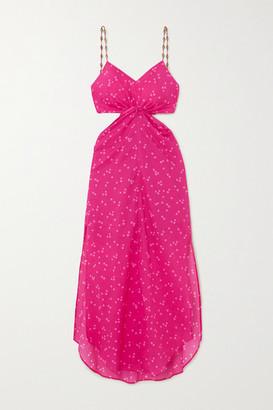 Vix Brigitte Embellished Cutout Polka-dot Cotton-voile Dress - Pink