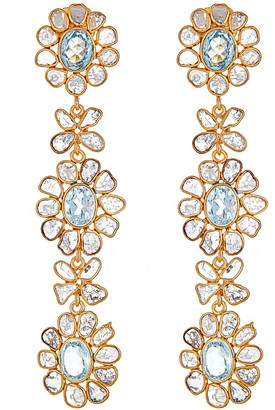 Forever Creations Usa Inc. Forever Creations Gold Over Silver 9.00 Ct. Tw. Diamond & Aquamarine Drop Earrings
