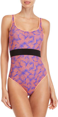 Diane von Furstenberg Printed Belt One-Piece Swimsuit