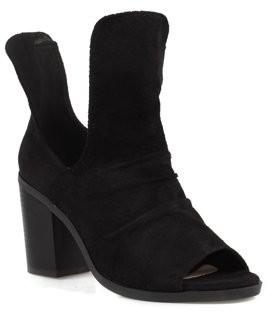 Nature Breeze Block Heel Women's Peep Toe Booties in Black