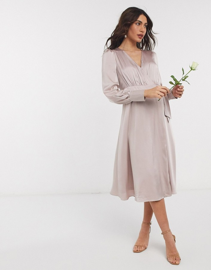 Thumbnail for your product : TFNC bridesmaid long sleeve wrap front sateen midi dress with belt in pink