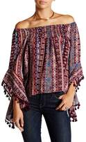 Romeo & Juliet Couture Off-The-Shoulder Tassel Blouse