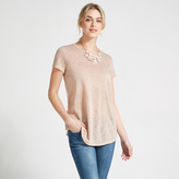 Apricot Pink & White Shimmer Fabric T-Shirt