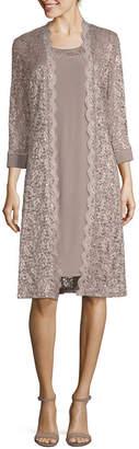 R & M Richards 3/4 Sleeve Jacket Dress-Petite