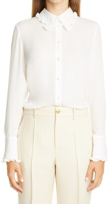Adam Lippes Ruffle Trim Silk Long Sleeve Shirt
