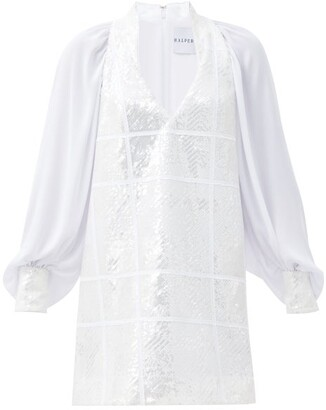Halpern Sequinned Satin Mini Dress - White Silver