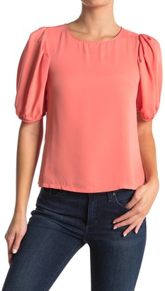 Elodie K Short Sleeve Crew Neck Woven Top