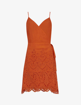 AllSaints Zariah broderie lace-trimmed crepe wrap dress