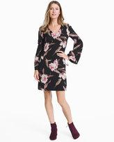 White House Black Market Long-Sleeve Floral Bell-Sleeve Shift Dress