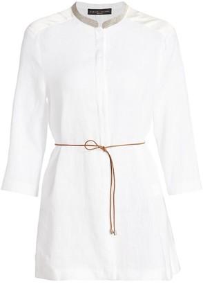 Fabiana Filippi Brilliant-Neck Belted Linen Tunic Top