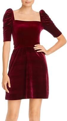 Aqua Puff-Sleeve Velvet Dress - 100% Exclusive