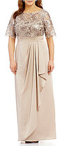 Adrianna Papell Plus Sequin Lace Draped Gown