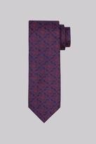 Moss Bros Navy & Wine Geo Silk Tie