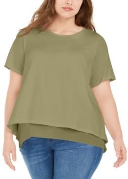 Michael Kors Michael Plus Size Chiffon-Trim T-Shirt