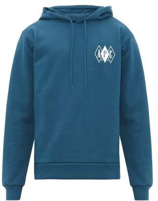 A.P.C. Beau Logo Print Cotton Hooded Sweatshirt - Mens - Blue