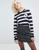 Sonia by Sonia Rykiel Sonia By Sonia Rykiel Striped Cards Detail Knit Sweater