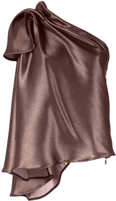 Maticevski Metallized One-Shoulder Top