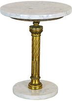 One Kings Lane Vintage Hollywood Regency Pedestal Side Table - Vintage Bella Home - white/gold