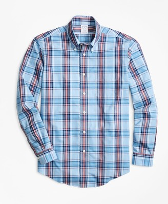 Brooks Brothers Non-Iron Regent Fit Blue and Red Plaid Sport Shirt