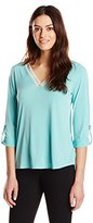 NY Collection Women's 3/4 Sleeve V Neck Top